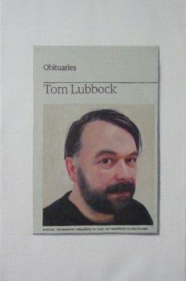 Hugh Mendes 'Obituary: Tom Lubbock'; oil on linen, 30.5x20cm, 2011