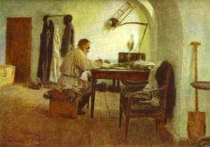 Leo Tolstoy in his study, 1891